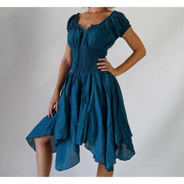 Petal Dress Teal Blue Medieval Pirate Dress Renaissance Festival... ($60) ❤ liked on Polyvore featuring costumes, dresses, grey, women's clothing, renaissance peasant costume, ladies halloween costumes, renaissance fair costumes, womens pirate costume and renaissance pirate costume