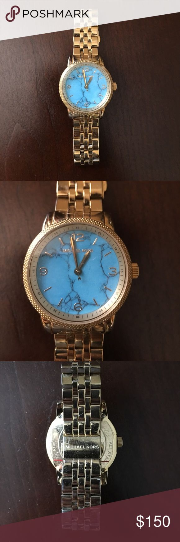 Michael Kors Gold Watch - Teal Face Very unique MK Gold Watch w/ Teal Face. Worn but still has a lot of life left. Minor scratches that are not noticed when worn. Needs battery. I bought this in Vegas a few years back but haven't worn it in a while. No Trades. Serious bidders only. Reasonable offers. Michael Kors Accessories Watches
