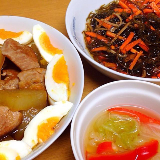 ⚫︎豚肉、大根の煮物 ⚫︎松前漬 ⚫︎白菜、パプリカの味噌汁 - 11件のもぐもぐ - 2015.01.05 by amagishinjyu