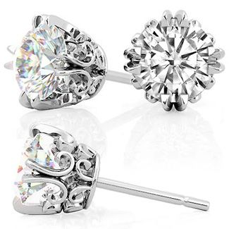Vintage Antique Double Prong Round Moissanite Stud Earrings