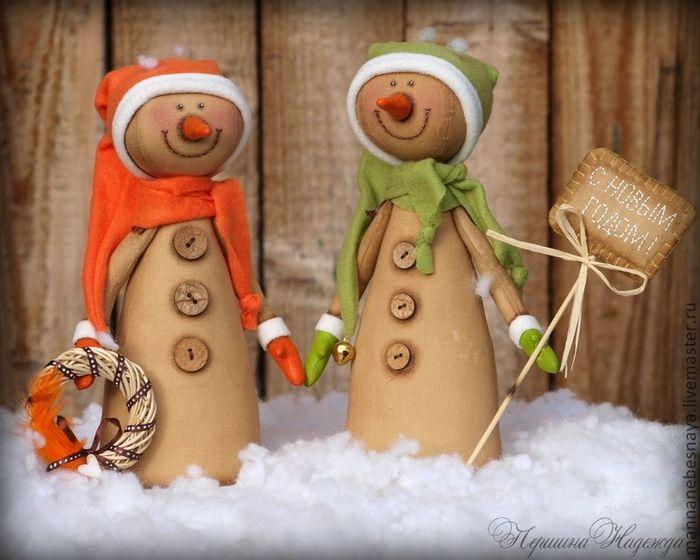 Кофейные снеговики: мастер-класс + выкройка - Блог о праздниках
