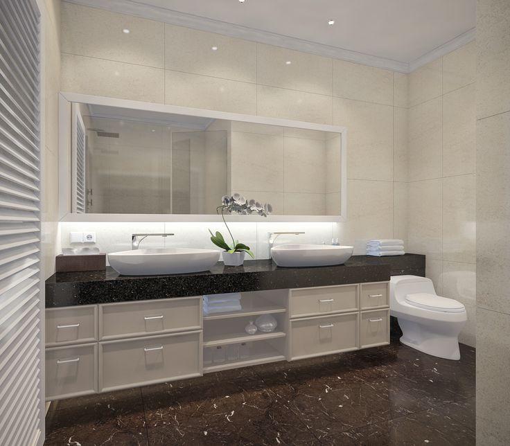 Dekorasi kamar mandi yang luas, elegan, dan menawan   Portofolio By : Linne (Interior Designer di Sejasa.com)