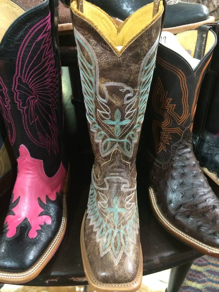 Colorful assortment of Anderson Bean boots from Logan's Western Supply.