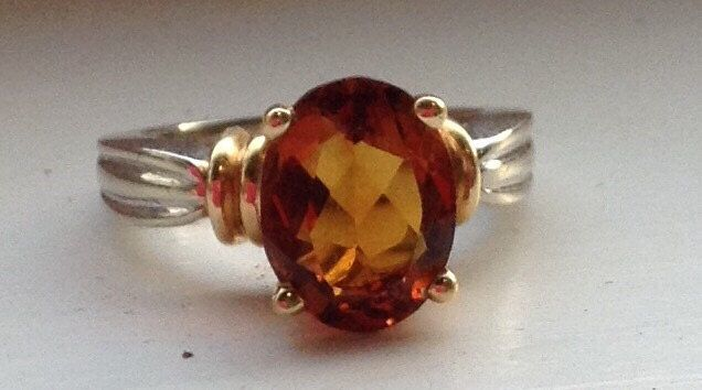 Oval Madeira Citrine and 14k Two Tone Gold Ring, 11x8, November birth stone, Alternative Engagement ring, Push present, Stuller, Anniversary by ShayEstate on Etsy https://www.etsy.com/listing/240143627/oval-madeira-citrine-and-14k-two-tone