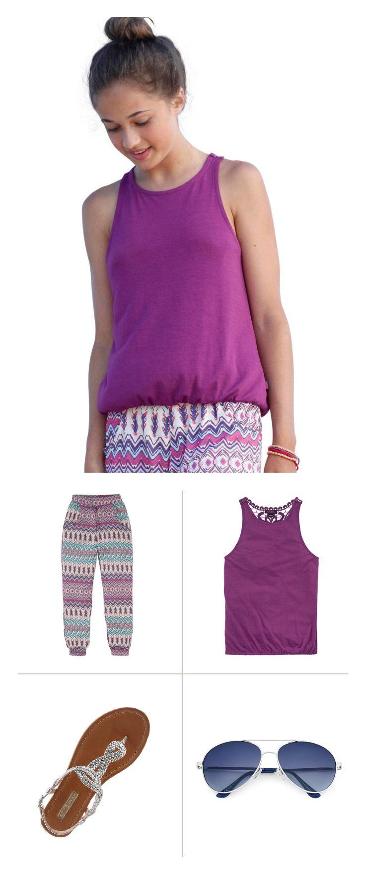 Purple Style Mit dem süßen Spitzen-Top, der angesagten Haremshose und den luftigen  Glitzer-Sandalen haben die Modeexperten von Buffalo ein tolles Fashion-Trio  für Mädchen designt. Sonnenbrille und Strohhut dazu – fertig ist der moderne Hippie-Look für viele Gelegenheiten.