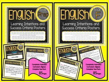 Prep and Foundation All English Learning INTENTIONS & Success Criteria! Compatible with ALL STATES  AUSTRALIAN CURRICULUMTHESE ARE EXACTLY THE SAME AS THE LEARNING GOALS JUST REWORDED FOR THOSE WHO USE INTENTIONS INSTEAD of GOALS.This packet has all the posters you will need to display the learning INTENTIONS for the whole year:Grade 5 Australian Curriculum English Reading and Writing     Speaking and Listening   (Language, Literature, Literacy)All content descriptors have been reworded i...