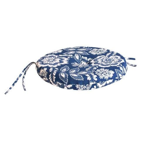 Outdoor Round Seat Pad/Dining/Bistro Cushion - Blue/White Geometric