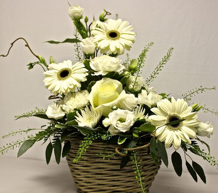 funeral flower arrangements | ... Home > Flower Collection 2013 > Sympathy > Basket-Sympathy-Arrangement