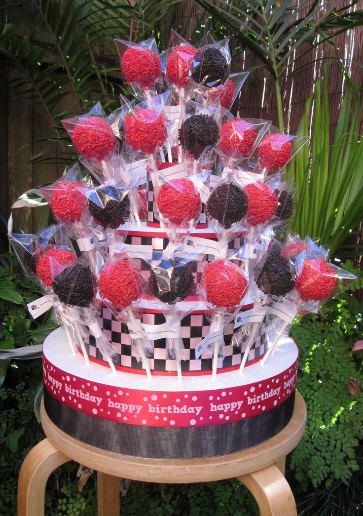 """Disney Cars Themed Cake Pops  www.thecakepopbakery.com.au """"This is Exactly how I pictured it!!!"""""""