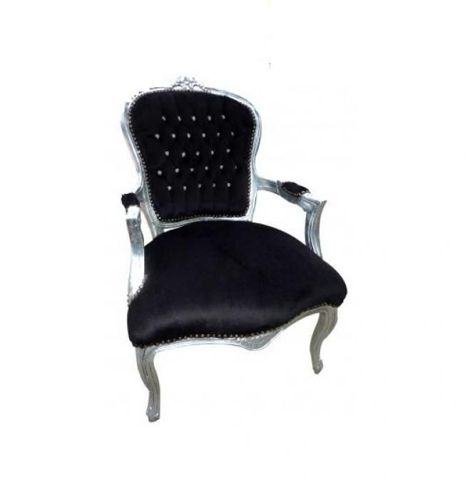 Black and silver louis armchair a delightfully gothic for Black damask chaise longue