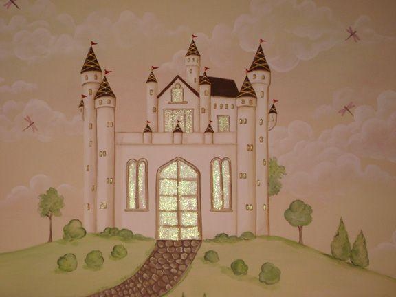 Princess mural for girls room . Castle close up by http://muralmax.com