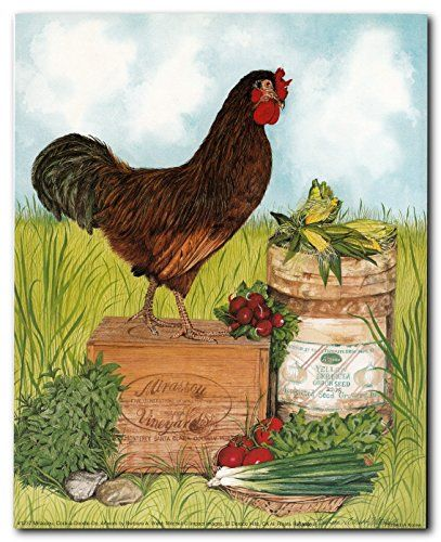 Simply Wow! This amazing wall poster is sure to add a cute touch and makes dramatic statement in any kitchen. This beautiful rooster wall art poster will be a great gift for the chicken collector. This poster is made of using high quality papers with a perfect color accuracy which guarantees that your posters last a lifetime without fading.