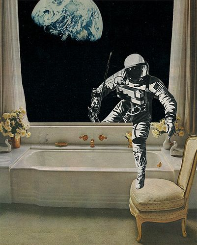 ' Bathtime ' - Collage on paper © Sammy Slabbinck. 2013  I love everything about this!!