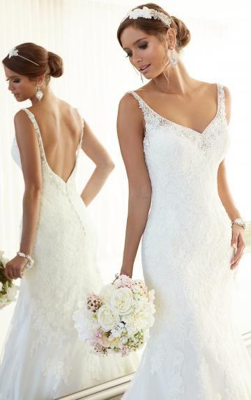 Robe de mariée en dentelle avec bretelles dos nu sexy chic moderne
