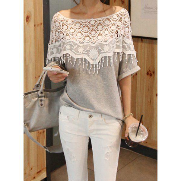 Lace Cutout Shirt Women Handmade Crochet Cape Collar Batwing Sleeve T-shirt This is too pretty! Love it!