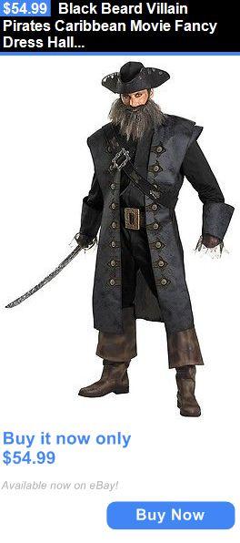 Halloween Costumes Men: Black Beard Villain Pirates Caribbean Movie Fancy Dress Halloween Adult Costume BUY IT NOW ONLY: $54.99