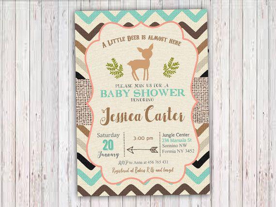 Little Deer Baby Shower Invitation Woodland by RainbowSweetStudio