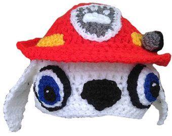 Pata de patrulla Marshall sombrero del ganchillo de por HatsByTracy