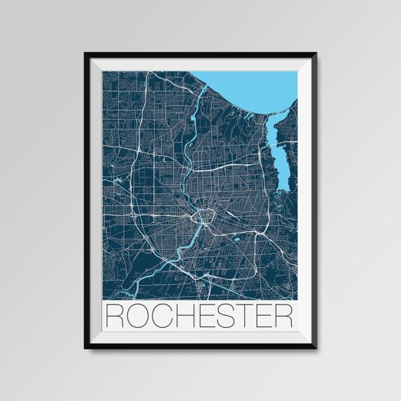 Rochester map, New York, USA, blue, Rochester print, Rochester poster, Rochester map art, Rochester city maps, Rochester Minimal Wall Art, Rochester Office Home Décor, black and white custom maps, personalized maps