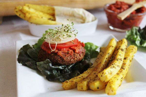 Recipe: Raw Yam Burgers and Daikon Fries with Ketchup...how fun and beat's McDonald's any day!!