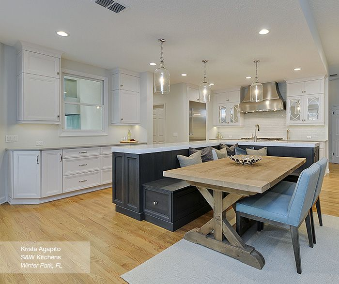 Kitchen Island With Bench Casually Cool, Pearl On Cyrill Maple And Smokey Hills On