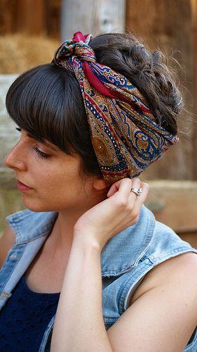 head scarf straight across bangs