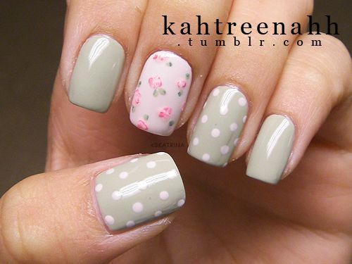 Pastel gray green nails, pink accent nail, white polkadot, flowers, free hand, nail art