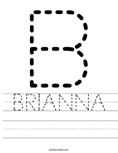 BRIANNA Worksheet - Twisty Noodle | Tracing letters ...