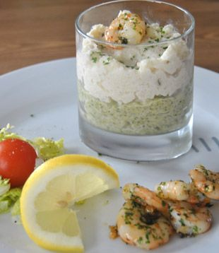 Califlower and brocoli mousse with shrimps.   Kids rating: 5 stars (E) vs. 1 star (A)