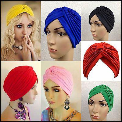 Turban Hat LADIES hairband BANDANA WRAP HAIR LOSS CHEMO Indian FANCY DRESS HATS1