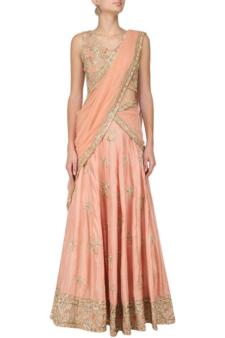 ASTHA NARANG - Peach Floral Embroidered Motifs Lehenga Set #AsthaNarang #peach #floral #embroidered #motifs #lehenga #perniaspopupshop #perniaqureshi #indowestern #contemporary #indianstyle #indianfashion #indiandesigner #happyshopping