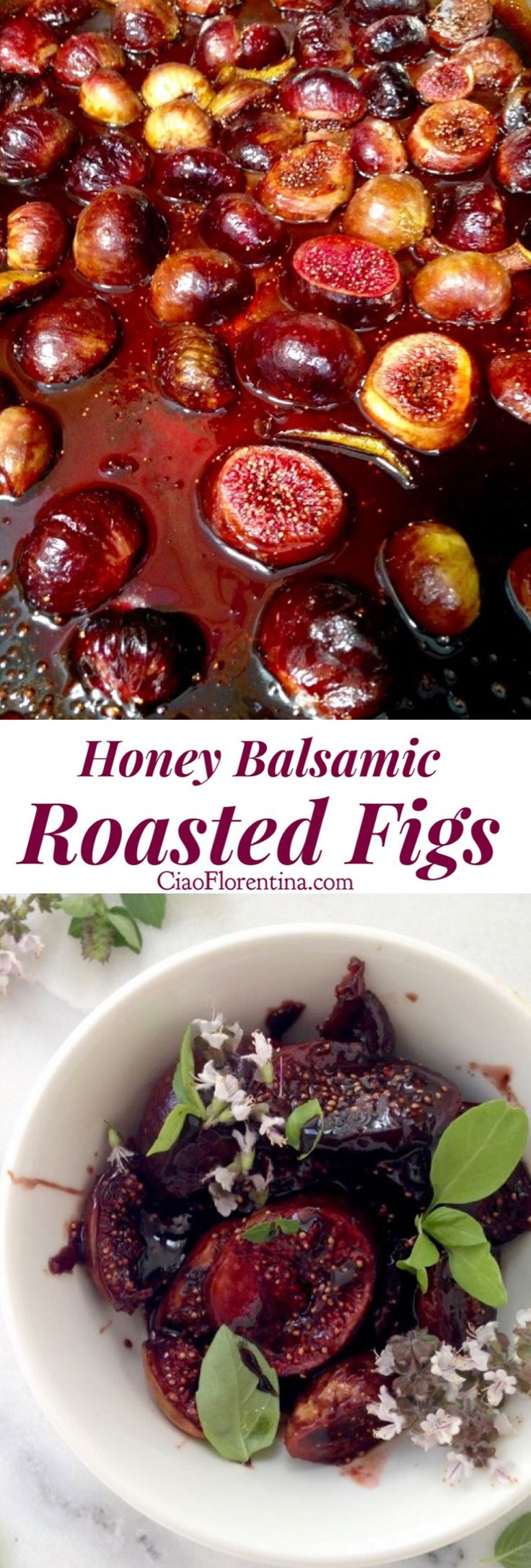 Honey Balsamic Roasted Figs Recipe with Vanilla and Lemon. Goes nice with goat cheese, Ricotta or as a pizza topping | CiaoFlorentina.com @CiaoFlorentina