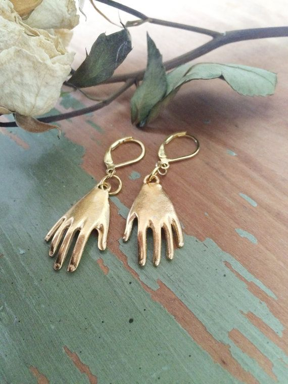 Beautiful Artist Frida Inspired Gold Hand Earrings Gold Plated
