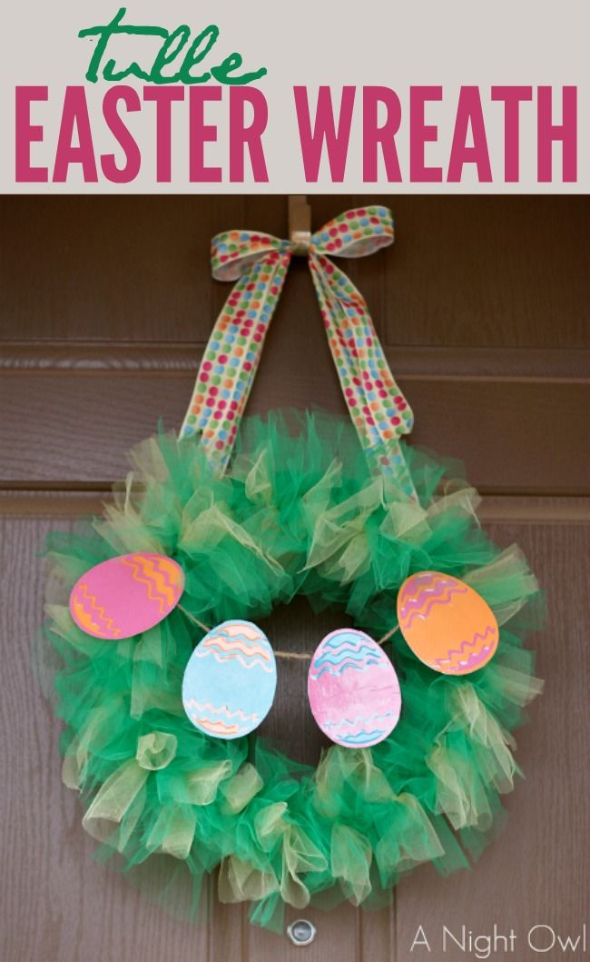 Such a fun and easy Tulle Easter Wreath!#yearofcelebrations #easter