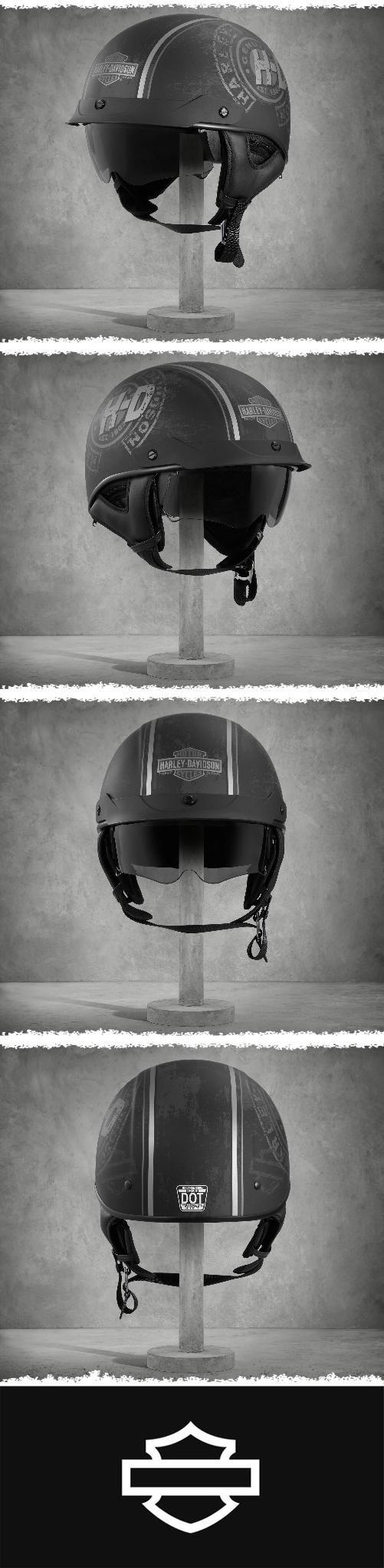 This bad boy is ready to take on the most legendary rides. | Harley-Davidson Wilcox Ultra-Light Sun Shield J03 Half Helmet