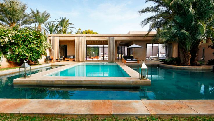 Pool surrounded by water feature