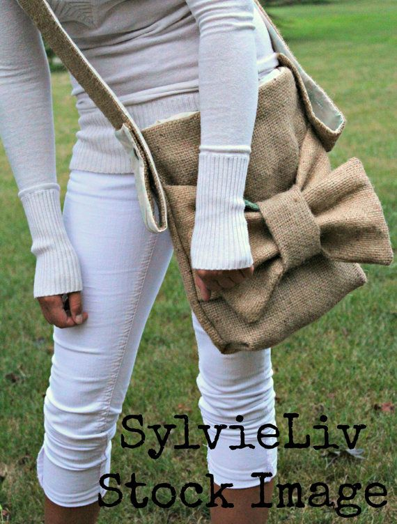 burlap purse with bow adjustable strap coffee bag by SylvieLiv, $55.99...I WANT IT