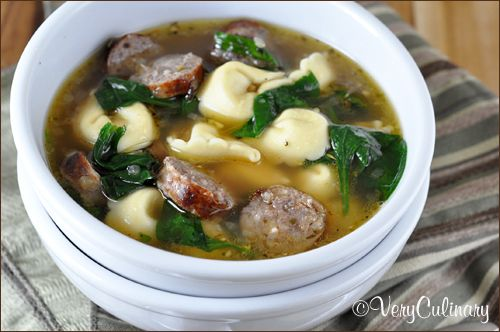 Easy Sausage and Tortellini Soup with Spinach - Very Culinary