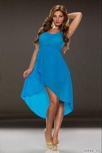 Ασύμμετρο σιφόν μίνι φόρεμα - Μπλε