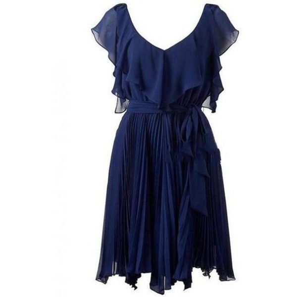 Elegant Flouncing Fold Blue Dress (1,255 MXN) ❤ liked on Polyvore featuring dresses, vestidos, short dresses, robe, frilly dress, ruffle mini dress, blue cocktail dress and blue ruffle dress