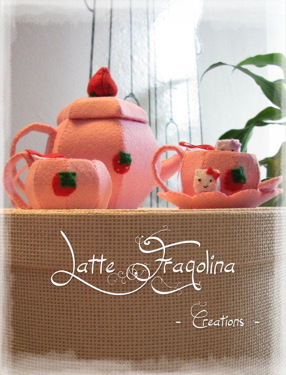 Giocattolo in feltro  Set da tè Mini  Cibo e di LatteFragolina