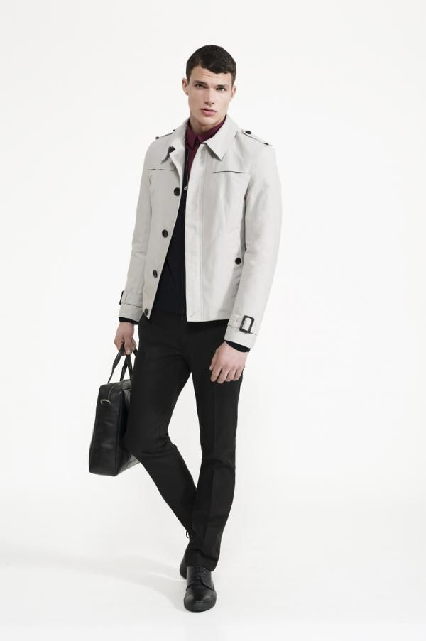 Calibre - Nylon Short Mac | Wine Dart Shirt | Knit Bomber | Black Stretch Pant | Doucal's Sport Boot | Wes Leather Briefcase