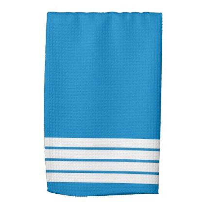 #modern - #Blue Hand Towels with White Accent Stripes
