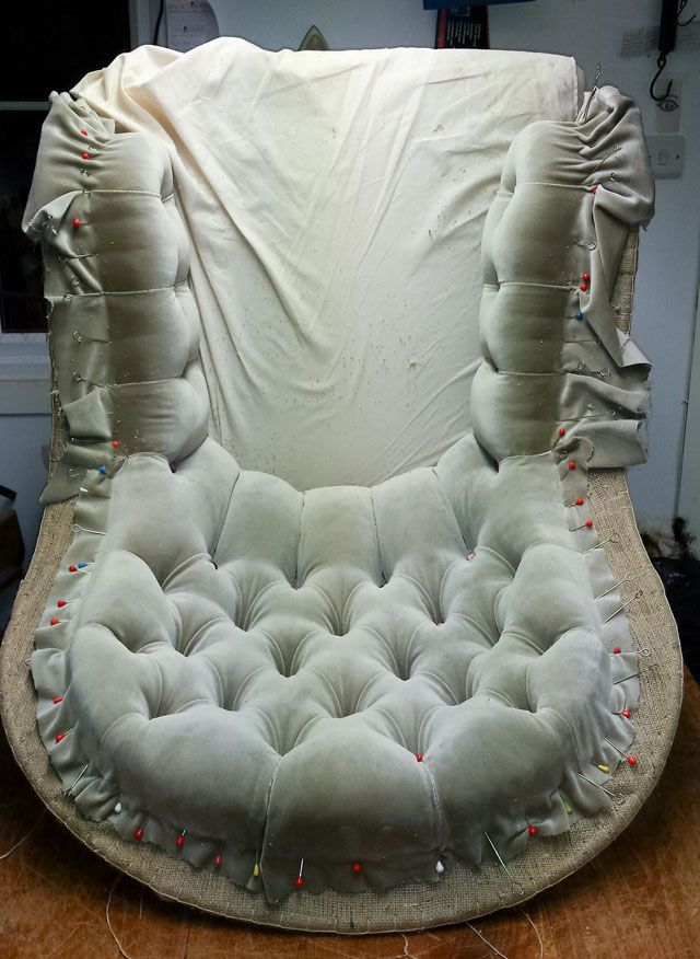 The process is completely spellbinding! Iron Back Chair upholstery.