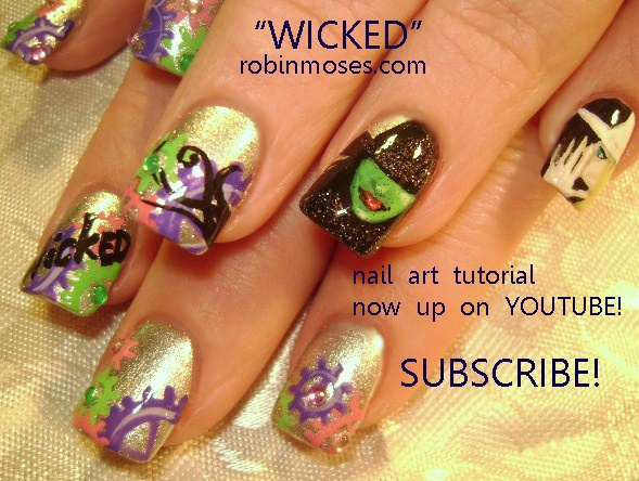 68 best broadway nails nail art design tutorial video gallery by nail art by robin moses wicked the musical nails rhododendron nails plum prinsesfo Image collections