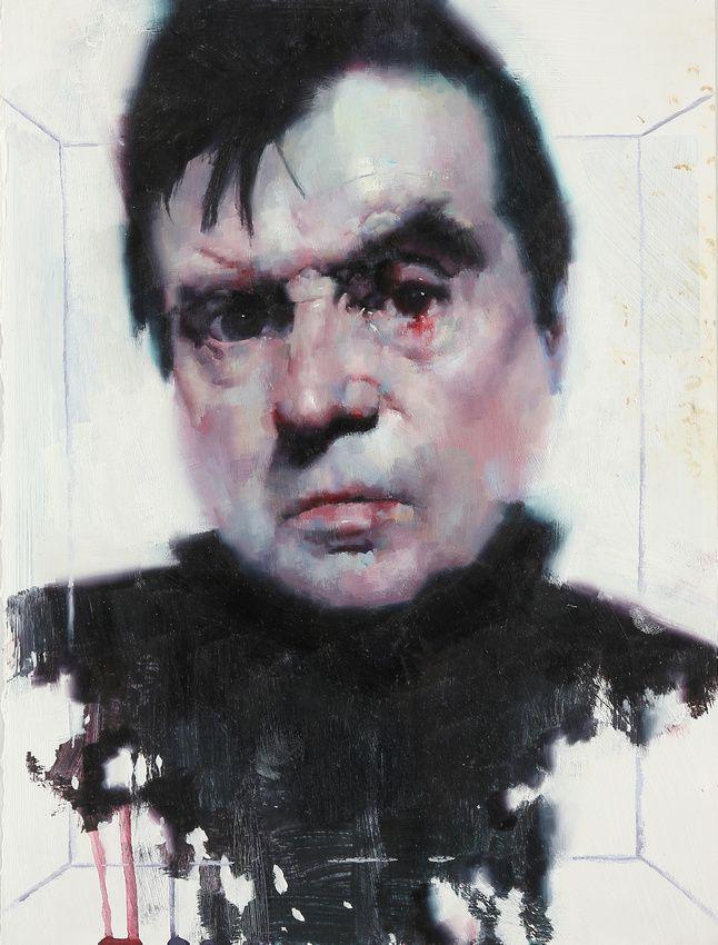 "Akira Beard - Francis Bacon, 9""x 12"", watersoluble oil paint on paper, 2011 http://akirabeard.com/"