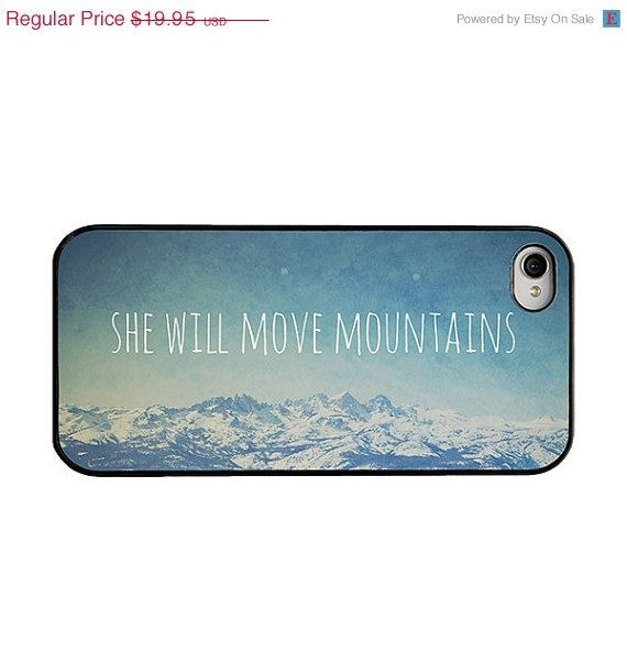 BLACK FRIDAY SALE Iphone 5 and 5s case - quote iphone case - she will move mountains iphone case - mountain iphone case - blue iphone case