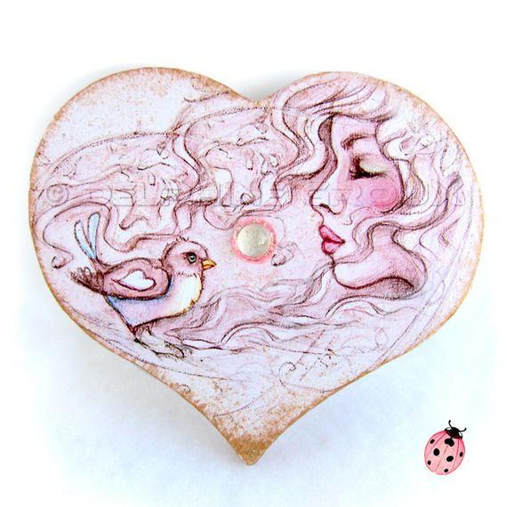 """Mini tableau mural décoratif en bois """"coeur d'oiseau - bulle de rêve"""""""