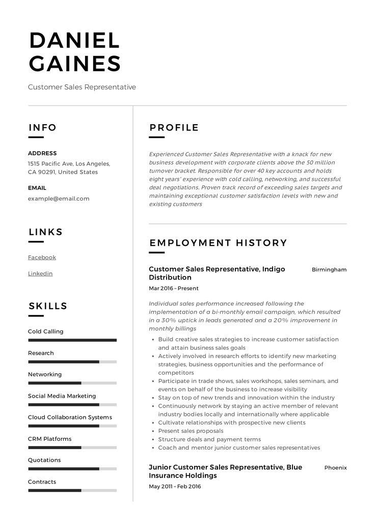 Customer sales representative resume sample resume
