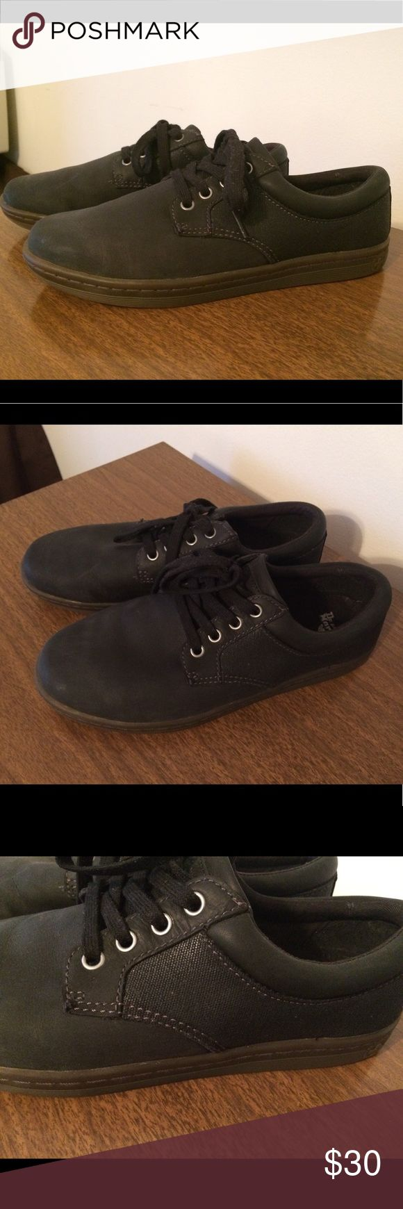 Dr Marten Black Leather Canvas Mason Shoes M 8 W9 Great condition. Mens Size 8, Women's Size 9, UK 7, EU 41. Hard to find! Dr. Martens Shoes